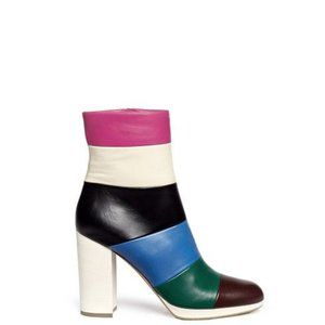 Valentino Striped Multicolor Leather Ankle Booties